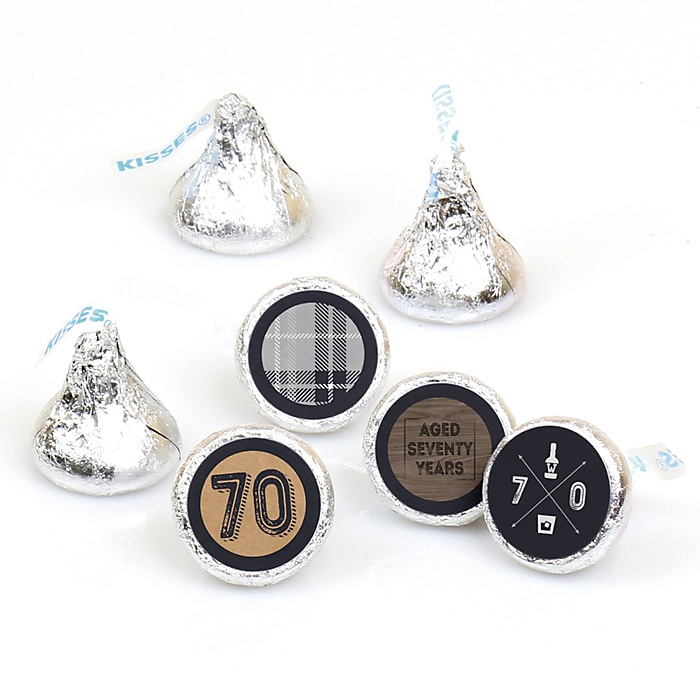 70th Milestone Birthday - Dashingly Aged to Perfection - Round Candy Labels Birthday Party Favors - Fits Hershey's Kisses - 108 ct