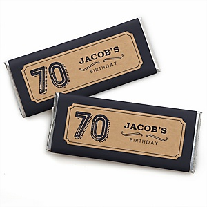 70th Milestone Birthday - Dashingly Aged to Perfection - Personalized Candy Bar Wrappers Birthday Party Favors - Set of 24