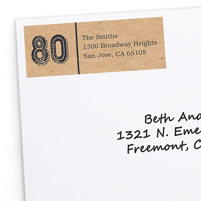 80th Milestone Birthday - Dashingly Aged to Perfection - Personalized Birthday Party Return Address Labels - 30 ct