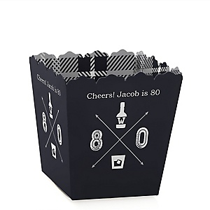 80th Milestone Birthday - Dashingly Aged to Perfection - Party Mini Favor Boxes - Personalized Birthday Party Treat Candy Boxes - Set of 12
