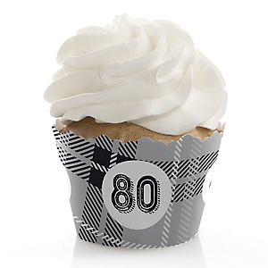 80th Milestone Birthday - Dashingly Aged to Perfection - Birthday Decorations - Party Cupcake Wrappers - Set of 12