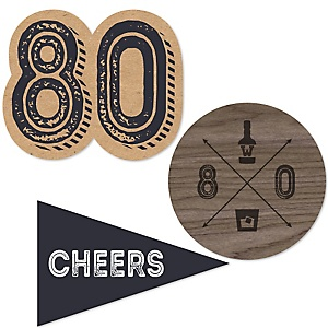 80th Milestone Birthday - Dashingly Aged to Perfection - DIY Shaped Party Paper Cut-Outs - 24 ct