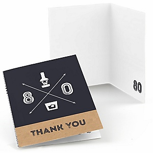 80th Milestone Birthday - Dashingly Aged to Perfection - Birthday Party Thank You Cards - 8 ct