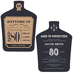 80th Milestone Birthday - Dashingly Aged to Perfection - Shaped Birthday Party Invitations - Set of 12