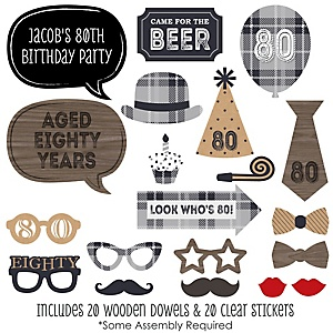 80th Milestone Birthday - Dashingly Aged to Perfection - 20 Piece Photo Booth Props Kit