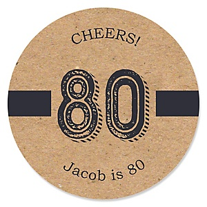 80th Milestone Birthday - Dashingly Aged to Perfection - Personalized Birthday Party Sticker Labels - 24 ct