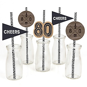 80th Milestone Birthday - Dashingly Aged to Perfection - Paper Straw Decor - Birthday Party Striped Decorative Straws - Set of 24