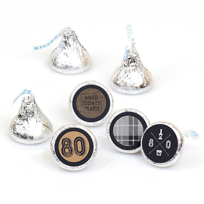 80th Milestone Birthday - Dashingly Aged to Perfection - Round Candy Labels Birthday Party Favors - Fits Hershey's Kisses - 108 ct