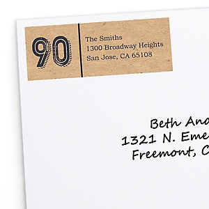 90th Milestone Birthday - Dashingly Aged to Perfection - Personalized Birthday Party Return Address Labels - 30 ct