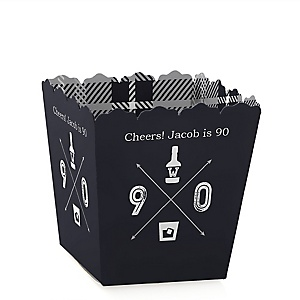 90th Milestone Birthday - Dashingly Aged to Perfection - Party Mini Favor Boxes - Personalized Birthday Party Treat Candy Boxes - Set of 12