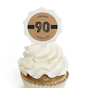 90th Milestone Birthday - Dashingly Aged to Perfection - Personalized Birthday Party Cupcake Pick and Sticker Kit - 12 ct