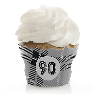90th Milestone Birthday - Dashingly Aged to Perfection - Birthday Decorations - Party Cupcake Wrappers - Set of 12
