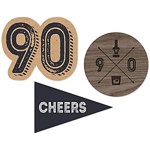 90th Milestone Birthday - Dashingly Aged to Perfection - DIY Shaped Party Paper Cut-Outs - 24 ct