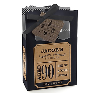 90th Milestone Birthday - Dashingly Aged to Perfection - Personalized Birthday Party Favor Boxes - Set of 12