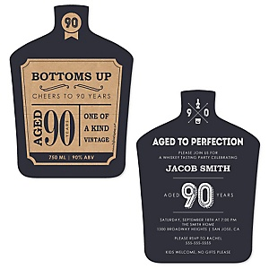 90th Milestone Birthday - Dashingly Aged to Perfection - Shaped Birthday Party Invitations - Set of 12