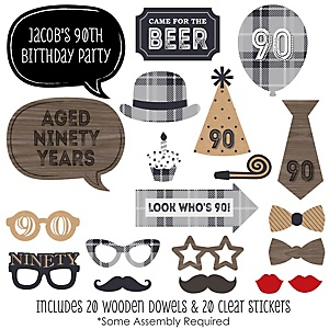 90th Milestone Birthday - Dashingly Aged to Perfection - 20 Piece Photo Booth Props Kit