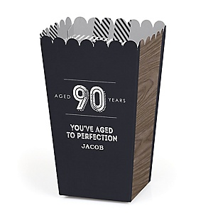 90th Milestone Birthday - Dashingly Aged to Perfection - Personalized Birthday Party Popcorn Favor Treat Boxes - Set of 12