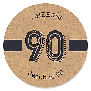 90th Milestone Birthday - Dashingly Aged to Perfection - Personalized Birthday Party Sticker Labels - 24 ct