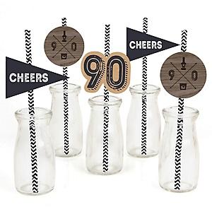 90th Milestone Birthday - Dashingly Aged to Perfection - Paper Straw Decor - Birthday Party Striped Decorative Straws - Set of 24