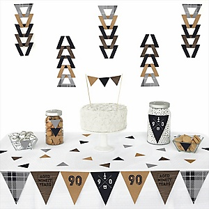 90th Milestone Birthday - Dashingly Aged to Perfection -  Triangle Birthday Party Decoration Kit - 72 Piece