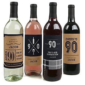 90th Milestone Birthday - Dashingly Aged to Perfection - Custom Wine Bottle Label Birthday Party Gift - Set of 4