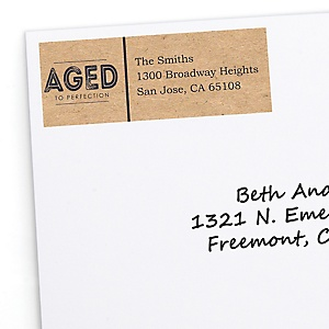 Milestone Happy Birthday - Dashingly Aged to Perfection - Personalized Birthday Party Return Address Labels - 30 ct