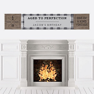 Milestone Happy Birthday - Dashingly Aged to Perfection - Personalized Birthday Party Banners