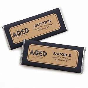 Milestone Happy Birthday - Dashingly Aged to Perfection - Personalized Candy Bar Wrappers Birthday Party Favors - Set of 24