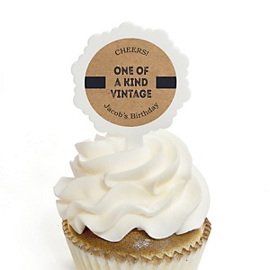 Milestone Happy Birthday - Dashingly Aged to Perfection - Personalized Birthday Party Cupcake Pick and Sticker Kit - 12 ct