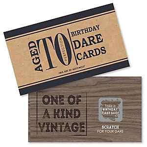 Milestone Happy Birthday - Dashingly Aged to Perfection - Birthday Party Scratch Off Dare Cards - 22 ct