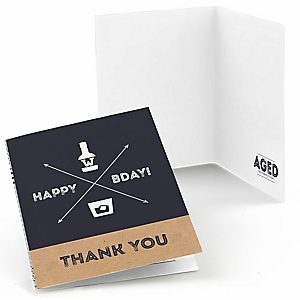 Milestone Happy Birthday - Dashingly Aged to Perfection - Birthday Party Thank You Cards - 8 ct