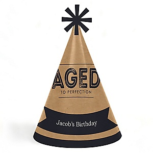 Milestone Happy Birthday - Dashingly Aged to Perfection - Personalized Cone Happy Birthday Party Hats for Kids and Adults - Set of 8 (Standard Size)
