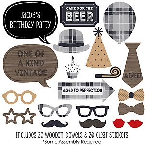 Milestone Happy Birthday - Dashingly Aged to Perfection - 20 Piece Photo Booth Props Kit