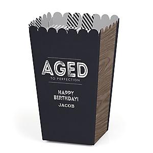 Milestone Happy Birthday - Dashingly Aged to Perfection - Personalized Birthday Popcorn Favor Treat Boxes - Set of 12