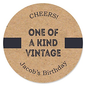 Milestone Happy Birthday - Dashingly Aged to Perfection - Personalized Birthday Party Sticker Labels - 24 ct