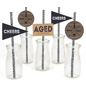 Milestone Happy Birthday - Dashingly Aged to Perfection - Paper Straw Decor - Birthday Party Striped Decorative Straws - Set of 24