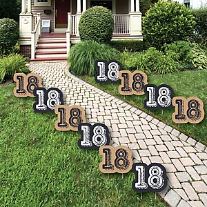 18th Milestone Birthday - Time To Adult Lawn Decorations - Outdoor Birthday Party Yard Decorations - 10 Piece