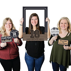 18th Milestone Birthday - Time To Adult - Birthday Party Selfie Photo Booth Picture Frame & Props - Printed on Sturdy Material