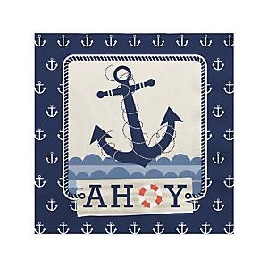 Ahoy - Nautical - Baby Shower Beverage Napkins - 16 ct