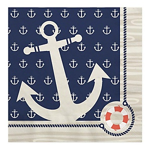 Ahoy - Nautical - Baby Shower Luncheon Napkins - 16 ct