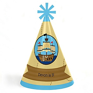 Ahoy Mates! Pirate - Personalized Cone Happy Birthday Party Hats for Kids and Adults - Set of 8 (Standard Size)