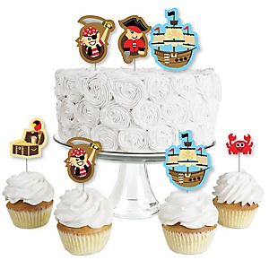 Ahoy Mates! Pirate - Dessert Cupcake Toppers - Baby Shower or Birthday Party Clear Treat Picks - Set of 24