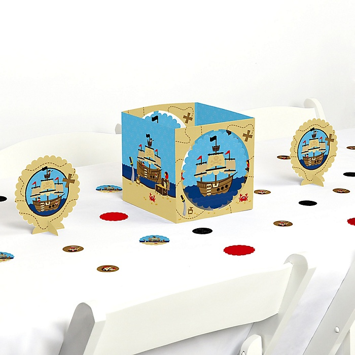 Ahoy Mates! Pirate - Baby Shower or Birthday Party Centerpiece and Table Decoration Kit