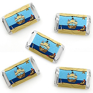 Ahoy Mates! Pirate - Mini Candy Bar Wrapper Stickers - Baby Shower or Birthday Party Small Favors - 40 Count