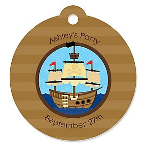 It's A-Boy Mates! Pirate - Round Personalized Party Tags - 20 ct