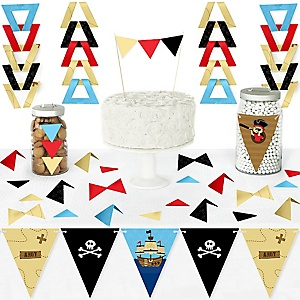 Ahoy Mates! Pirate - DIY Pennant Banner Decorations - Baby Shower or Birthday Party Triangle Kit - 99 Pieces