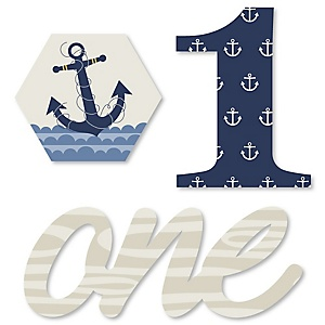 1st Birthday Ahoy - Nautical - DIY Shaped First Birthday Party Cut-Outs - 24 ct