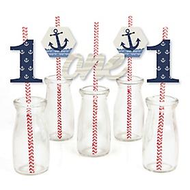 1st Birthday Ahoy - Nautical - Paper Straw Decor - First Birthday Party Striped Decorative Straws - Set of 24