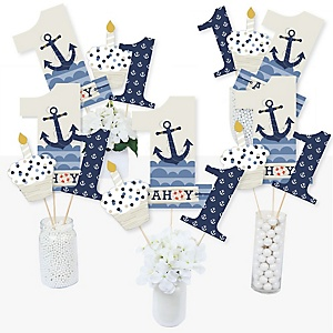 1st Birthday Ahoy - Nautical - First Birthday Party Centerpiece Sticks - Table Toppers - Set of 15