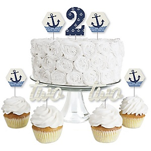 2nd Birthday Ahoy - Nautical - Dessert Cupcake Toppers - Second Birthday Party Clear Treat Picks - Set of 24